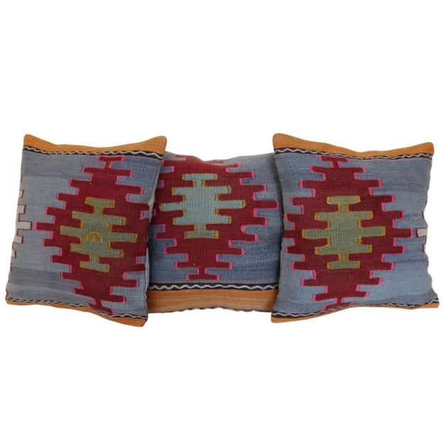 Antique-Turkish-Kilim-Rug-Pillows-Set-of-3 1