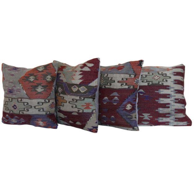 decorative-vintage-wool-kilim-rug-pillows-set-of-4 1