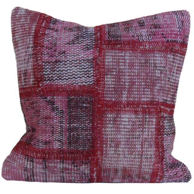 Handmade-Patchwork-Pink-Rug-Pillow 1