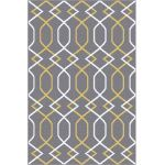 Picture of Geometric Gray Rug with Yellow Lines