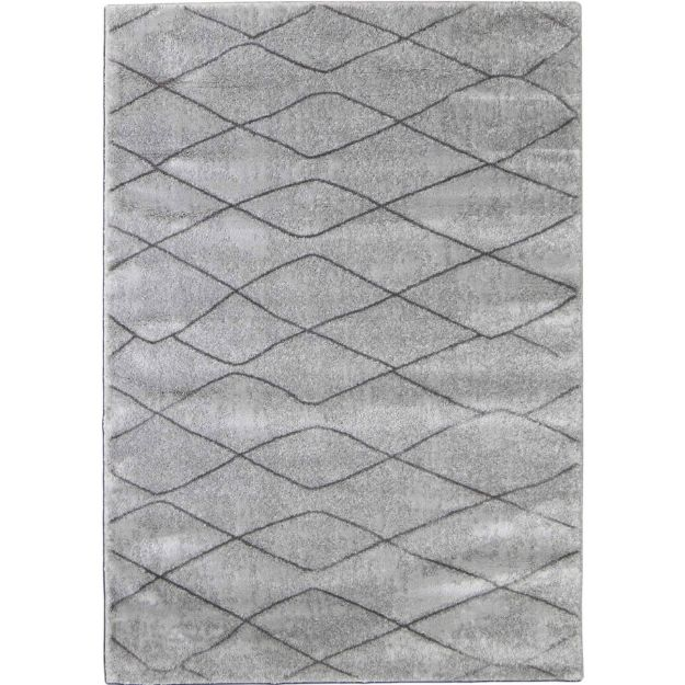 Soft Plush Gray Lattice Rug